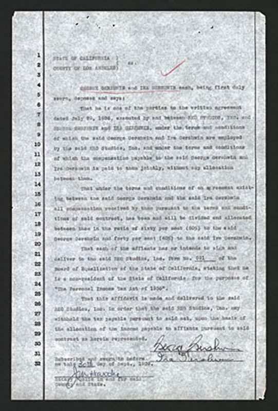 Image 1 for George Gershwin - Document Signed 09/30/1936 co-signed by: Ira Gershwin - HFSID 286059