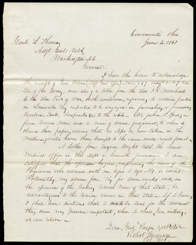 Image 1 for Major General Robert Anderson - Autograph Letter Signed 06/04/1861 - HFSID 286061