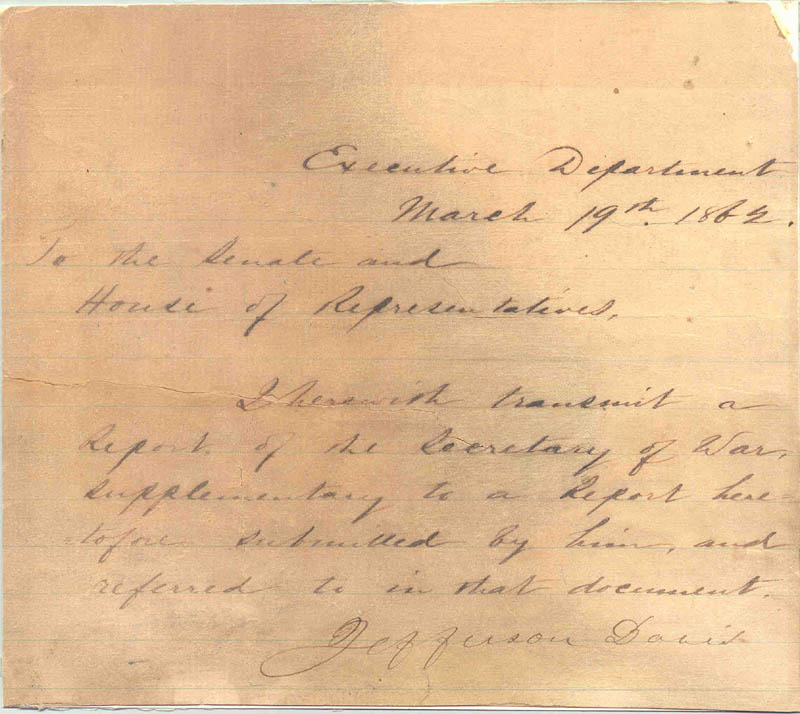 Image 1 for President Jefferson Davis (Confederate States Of America) - Manuscript Letter Signed 03/19/1862 - HFSID 286081