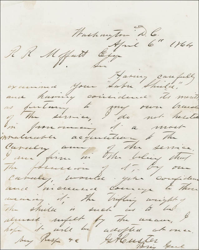 Image 1 for Major General George Armstrong Custer - Autograph Letter Signed 04/06/1864 - HFSID 286163