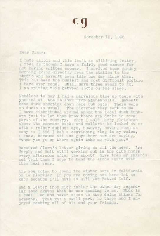 Clark gable typed letter signed 11151938 autographs clark gable typed letter signed 11151938 autographs manuscripts historyforsale item 286172 altavistaventures