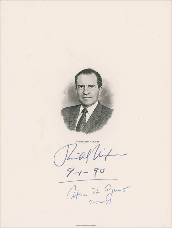 Image 1 for President Richard M. Nixon - Engraving Signed 09/01/1990 co-signed by: Vice President Spiro T. Agnew - HFSID 286177