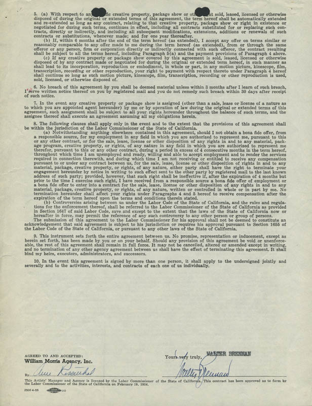 Image 1 for Walter Brennan - Contract Signed 08/22/1956 - HFSID 286194