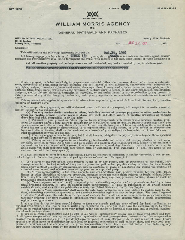 Image 3 for Walter Brennan - Contract Signed 08/22/1956 - HFSID 286194