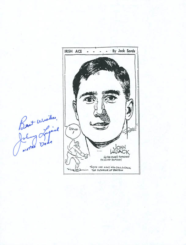 Image 1 for Johnny Lujack - Photocopy Signed In Ink - HFSID 286250
