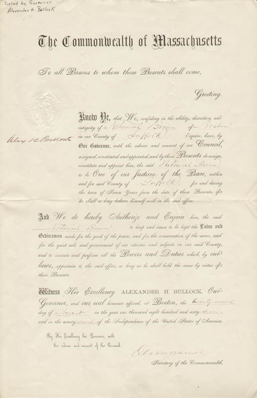 Image 1 for Alexander H. Bullock - Civil Appointment Signed 08/22/1867 co-signed by: Oliver Warner - HFSID 286566