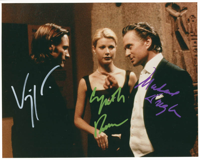 Image 1 for A Perfect Murder Movie Cast - Autographed Signed Photograph co-signed by: Michael Douglas, Gwyneth Paltrow, Viggo Mortensen - HFSID 286737
