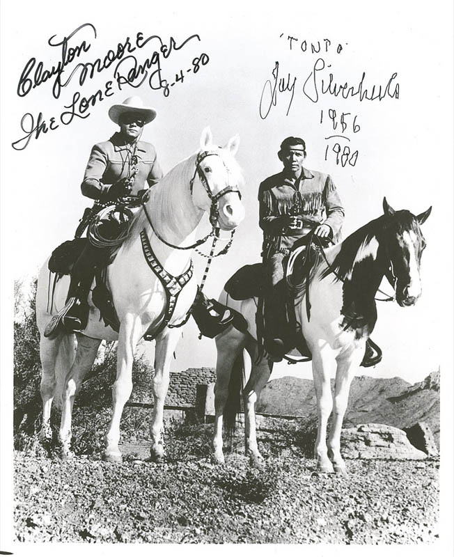 Image 1 for Lone Ranger TV Cast - Autographed Signed Photograph 08/04/1980 co-signed by: Clayton 'The Lone Ranger' Moore, Jay 'Tonto' Silverheels - HFSID 286824
