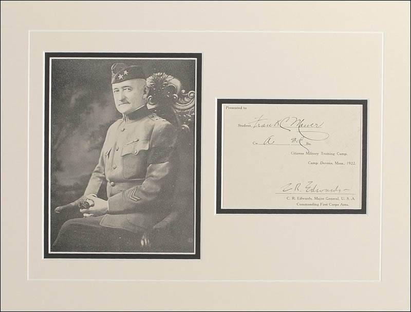 Image 1 for Major General Clarence R. Edwards - Document Signed Circa 1922 - HFSID 286872