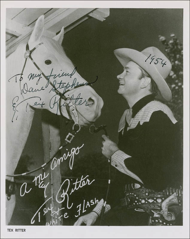 Image 1 for Tex Ritter - Inscribed Printed Photograph Signed In Ink 1954 - HFSID 286880