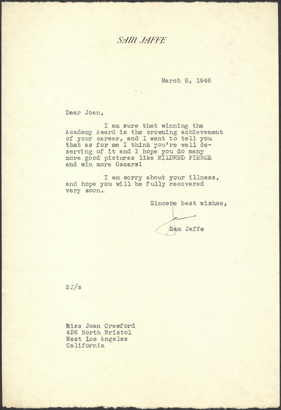 Image 1 for Sam (Producer) Jaffe - Typed Letter Signed 03/08/1946 - HFSID 286900