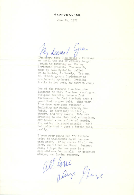 Image 1 for George D. Cukor - Typed Letter Signed 01/24/1977 - HFSID 286906