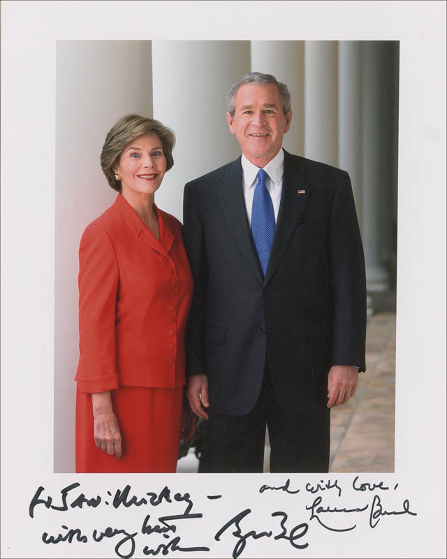 Image 1 for President George W. Bush - Autographed Inscribed Photograph co-signed by: First Lady Laura Bush - HFSID 287110
