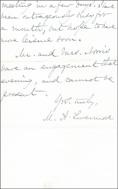 Image 1 for Mary A. Livermore - Autograph Letter Signed 01/23/1887 - HFSID 287122