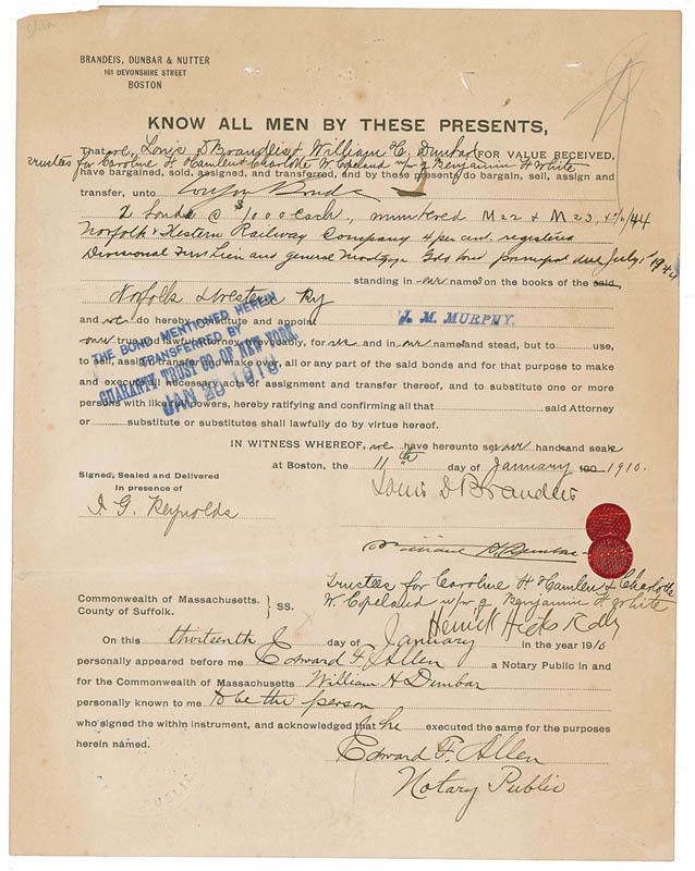Image 1 for Associate Justice Louis D. Brandeis - Document Signed 01/11/1910 co-signed by: William H. Dunbar - HFSID 287155