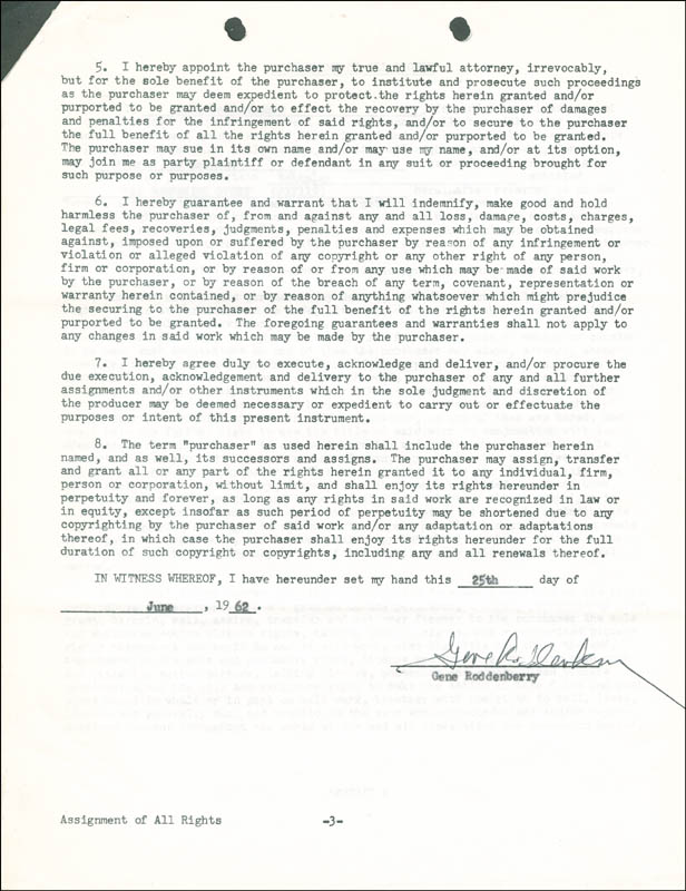 Image 1 for Gene Roddenberry - Contract Signed 06/25/1962 - HFSID 287625