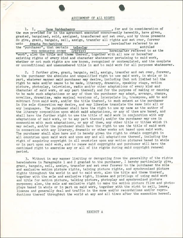 Image 3 for Gene Roddenberry - Contract Signed 06/25/1962 - HFSID 287625