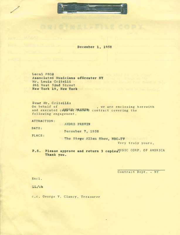 Image 1 for Andre Previn - Document Multi-signed 12/01/1958 co-signed by: Morris (Morrie) Levy, Larry Funk - HFSID 287671