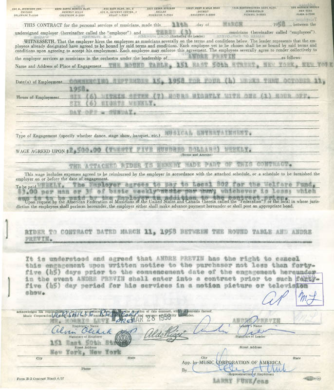 Image 5 for Andre Previn - Document Multi-signed 12/01/1958 co-signed by: Morris (Morrie) Levy, Larry Funk - HFSID 287671