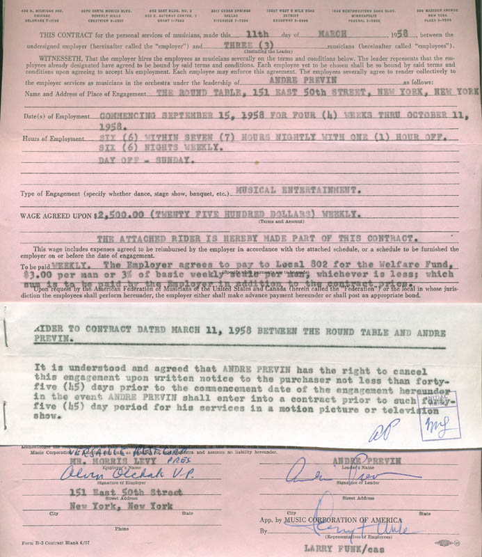 Image 7 for Andre Previn - Document Multi-signed 12/01/1958 co-signed by: Morris (Morrie) Levy, Larry Funk - HFSID 287671