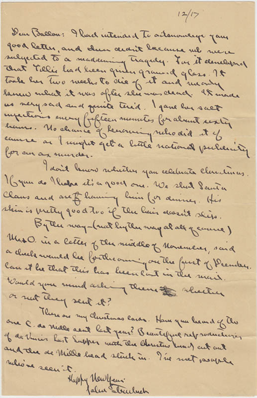 Image 1 for John Steinbeck - Autograph Letter Signed 12/17 - HFSID 287777