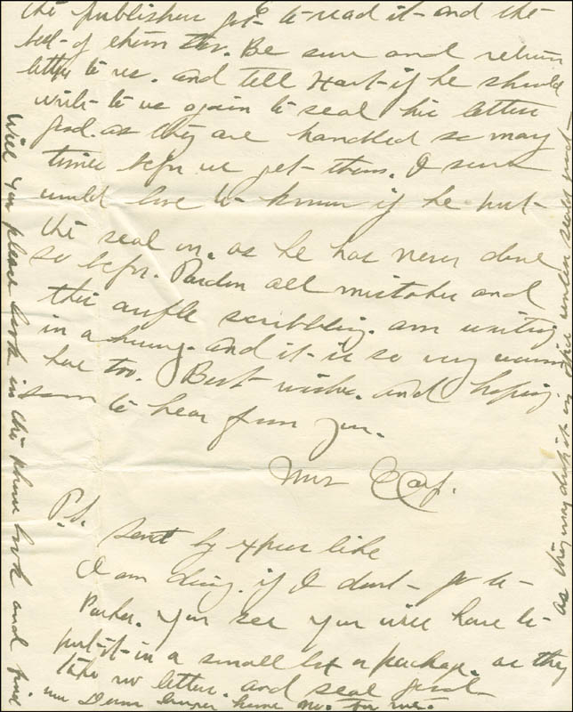 Image 1 for Josephine 'Josie' Earp - Autograph Letter Signed - HFSID 287779