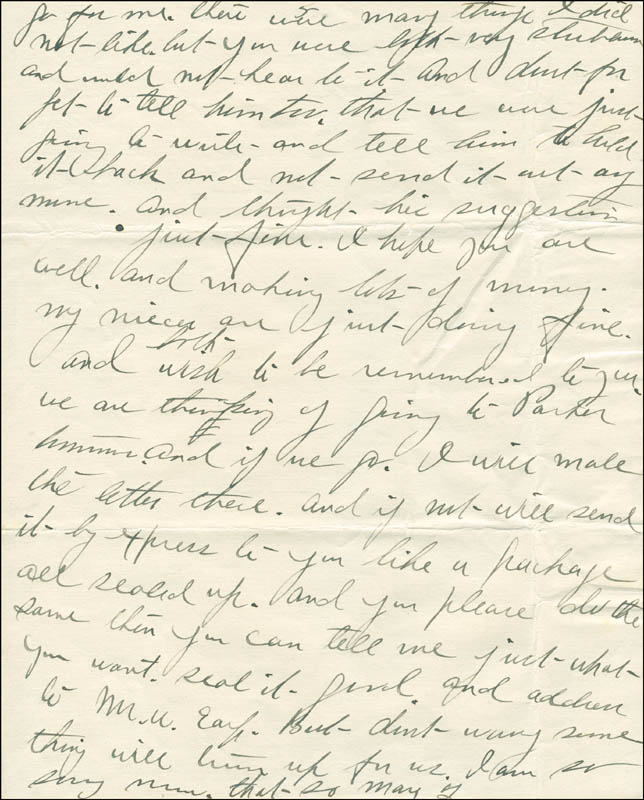 Image 7 for Josephine 'Josie' Earp - Autograph Letter Signed - HFSID 287779