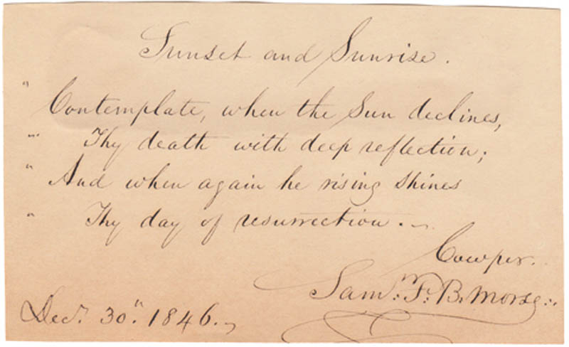 Image 1 for Samuel F. B. Morse - Autograph Quotation Signed 12/30/1846 - HFSID 287782