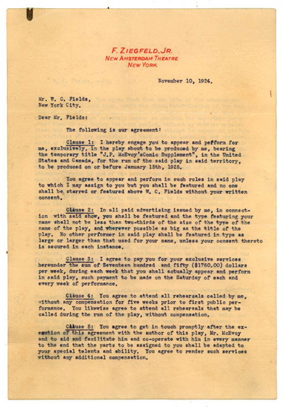 Image 1 for W. C. Fields - Typed Letter Signed 11/10/1924 co-signed by: Florenz 'Flo' Ziegfeld Jr. - HFSID 287816