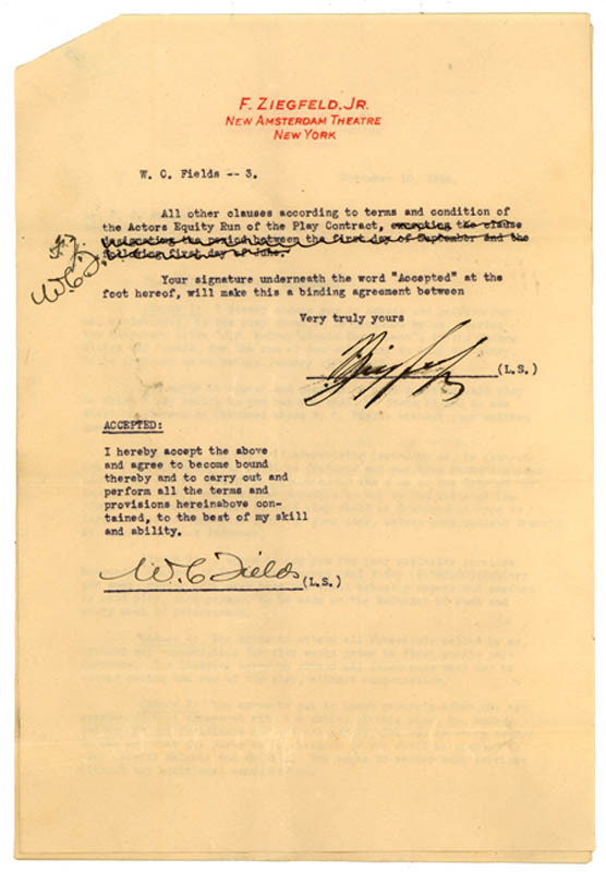 Image 3 for W. C. Fields - Typed Letter Signed 11/10/1924 co-signed by: Florenz 'Flo' Ziegfeld Jr. - HFSID 287816