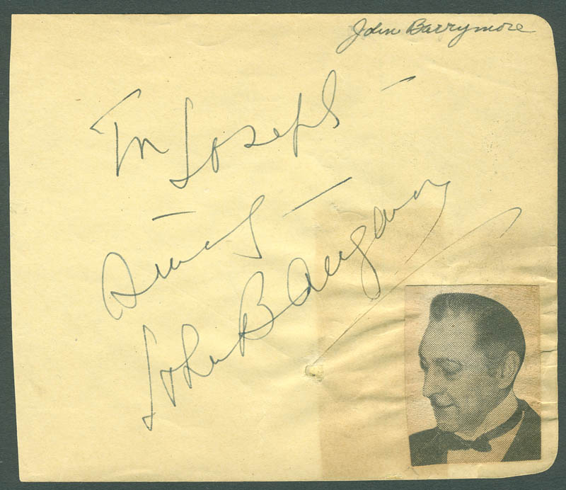 Image 1 for John Barrymore Sr. - Autograph Sentiment Signed co-signed by: Joe Penner - HFSID 287829