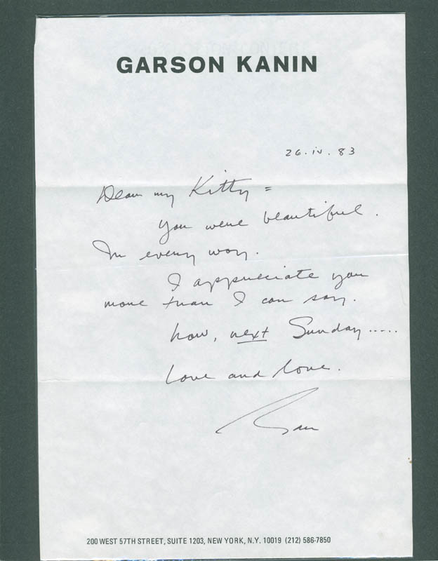 Image 1 for Garson Kanin - Autograph Note Signed 04/26/1983 - HFSID 287933