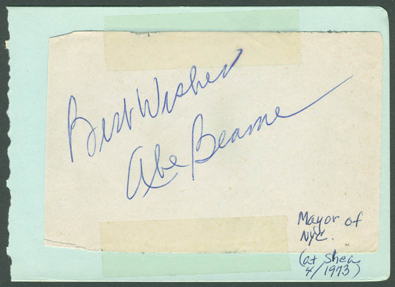 Image 1 for Mayor Abraham D. Beame - Autograph Sentiment Signed Circa 1973 - HFSID 287978