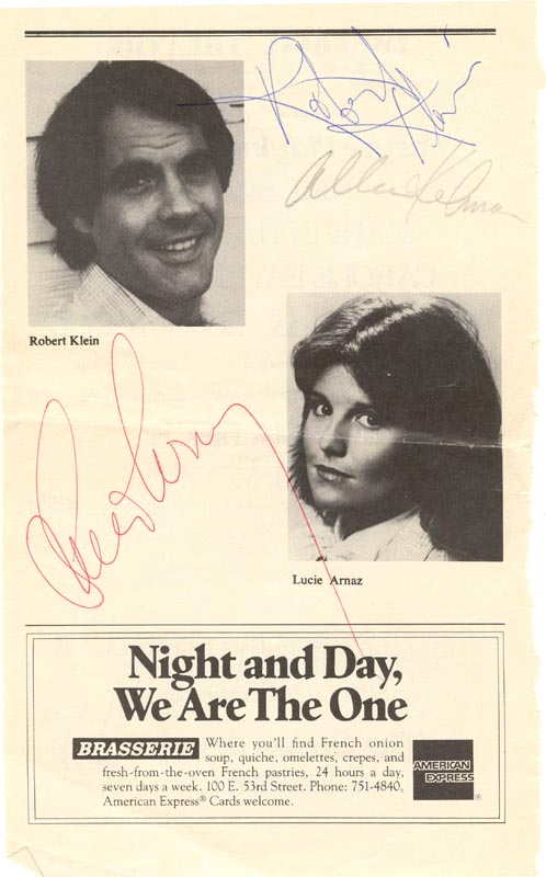 Image 1 for They'Re Playing Our Song Broadway Cast - Program Page Signed co-signed by: Robert Klein, Lucie Arnaz, Allen Kelman - HFSID 28804
