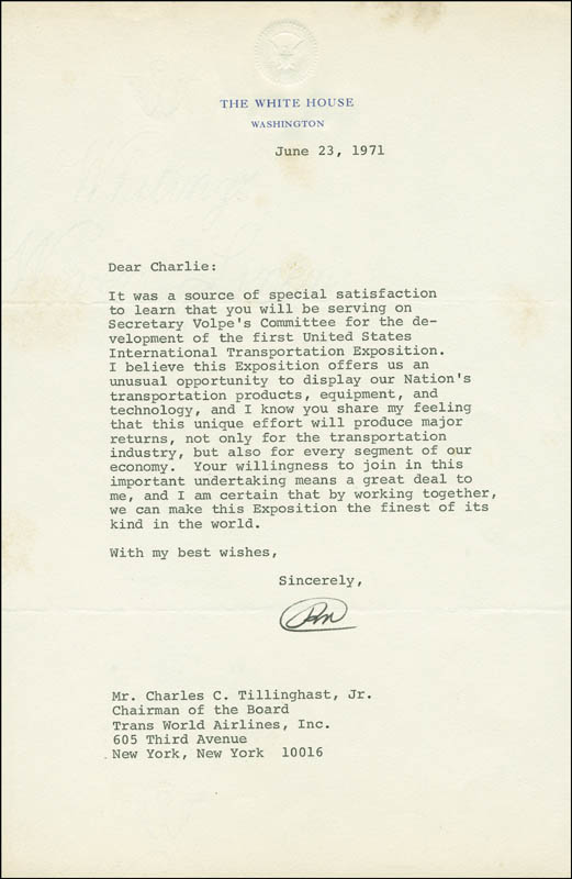 Image 1 for President Richard M. Nixon - Typed Letter Signed 06/23/1971 - HFSID 288330