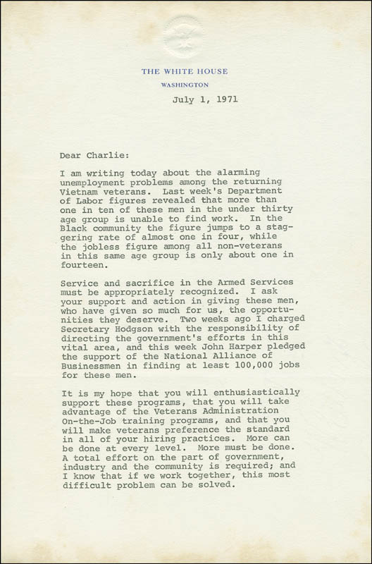 Image 1 for President Richard M. Nixon - Typed Letter Signed 07/01/1971 - HFSID 288331