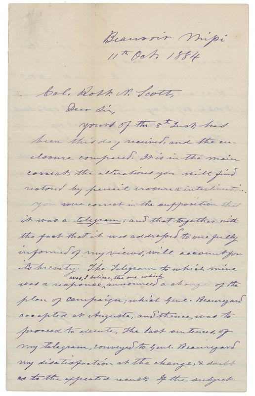 Image 1 for President Jefferson Davis (Confederate States Of America) - Autograph Letter Signed 10/11/1884 - HFSID 288355