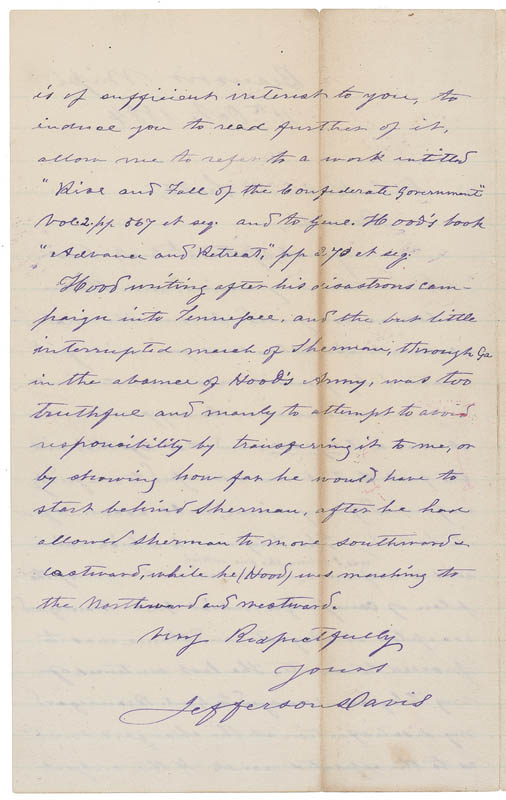 Image 3 for President Jefferson Davis (Confederate States Of America) - Autograph Letter Signed 10/11/1884 - HFSID 288355
