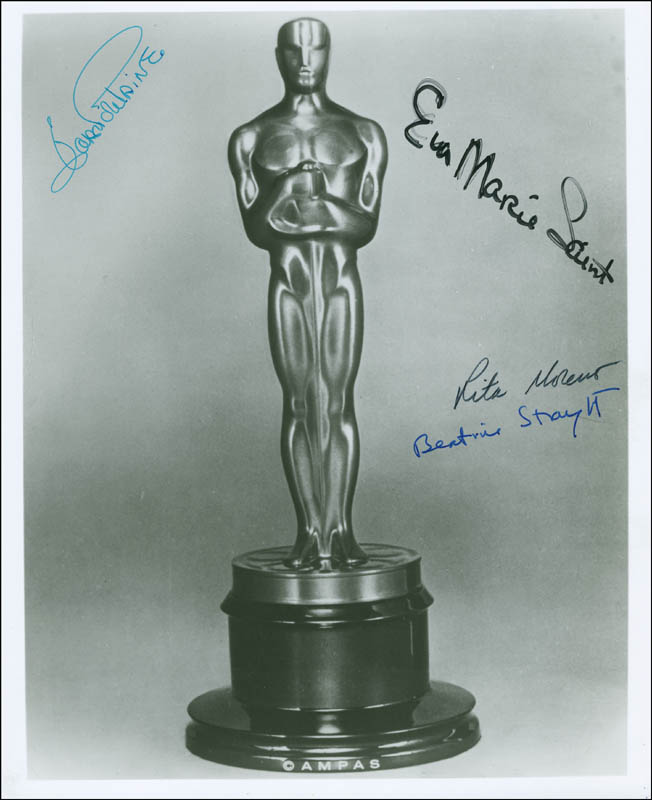 Image 1 for Joan Fontaine - Autographed Signed Photograph co-signed by: Eva Marie Saint, Beatrice Straight, Rita Moreno - HFSID 288429