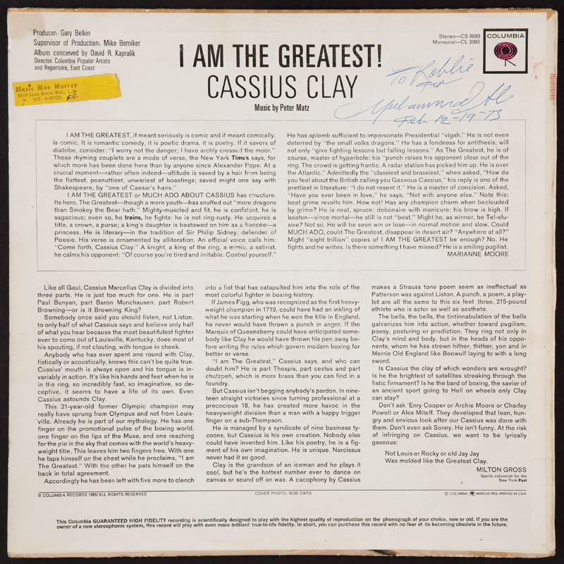 Image 1 for Muhammad 'The Greatest' Ali - Inscribed Record Album Cover Signed 12/19/1973 - HFSID 288551