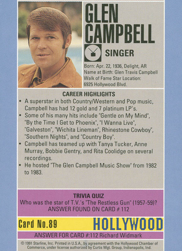 Image 3 for Glen Campbell - Trading/Sports Card Signed - HFSID 288596