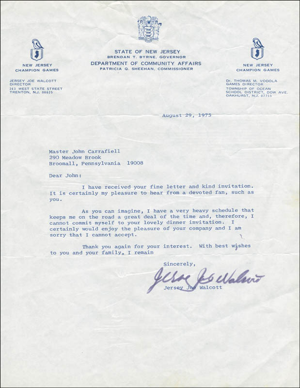 Image 1 for Joe 'Jersey Joe' Walcott - Typed Letter Signed 08/29/1975 - HFSID 288694