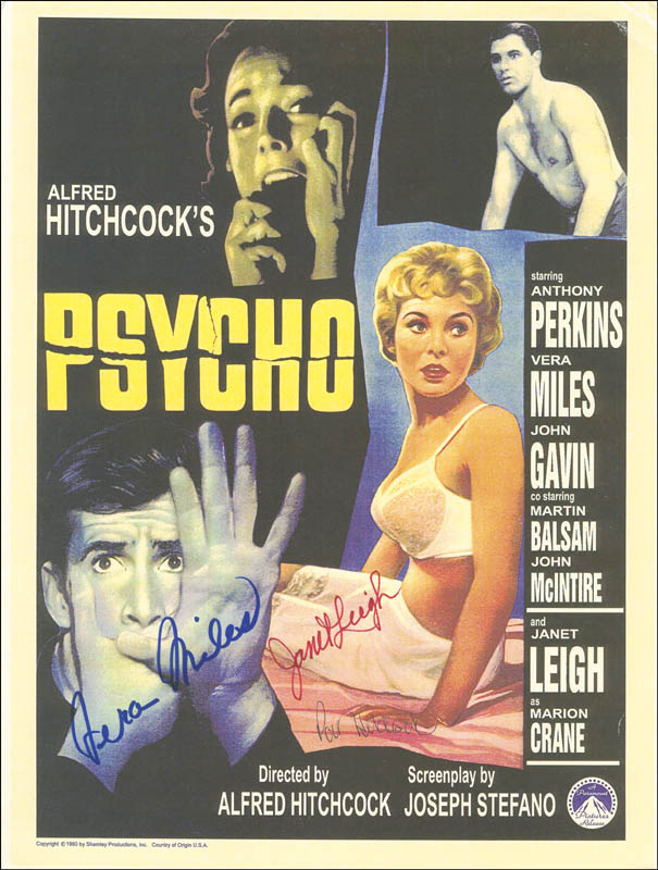 Image 1 for Psycho! Movie Cast - Advertisement Signed co-signed by: Vera Miles, Janet Leigh, Patricia 'Pat' Hitchcock - HFSID 288710