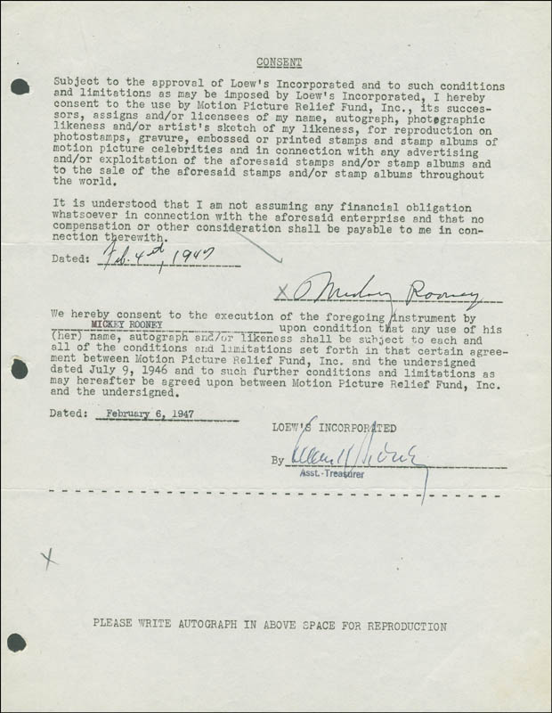 Image 1 for Mickey Rooney - Document Signed 02/04/1947 - HFSID 288794
