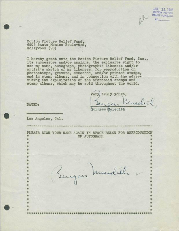 Image 1 for Burgess Meredith - Document Double Signed 07/11/1946 - HFSID 288812