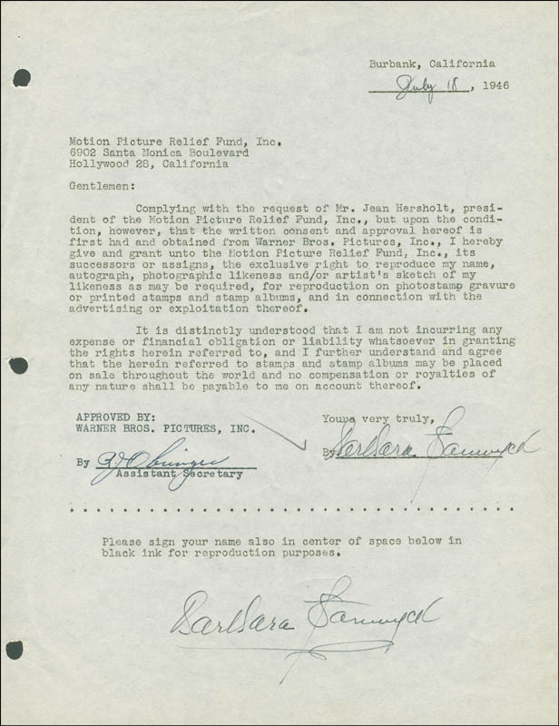 Image 1 for Barbara Stanwyck - Document Double Signed 07/18/1946 - HFSID 288821