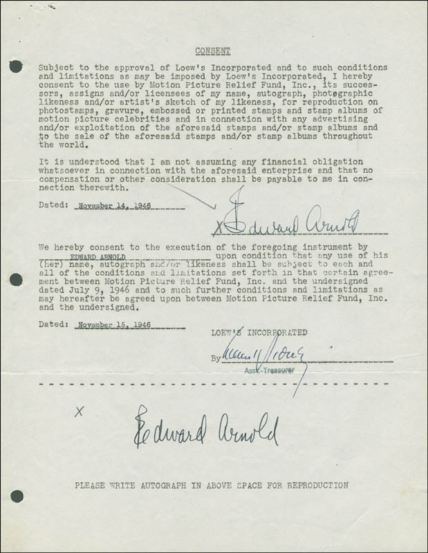 Image 1 for Edward Arnold - Document Double Signed 11/14/1945 - HFSID 288861