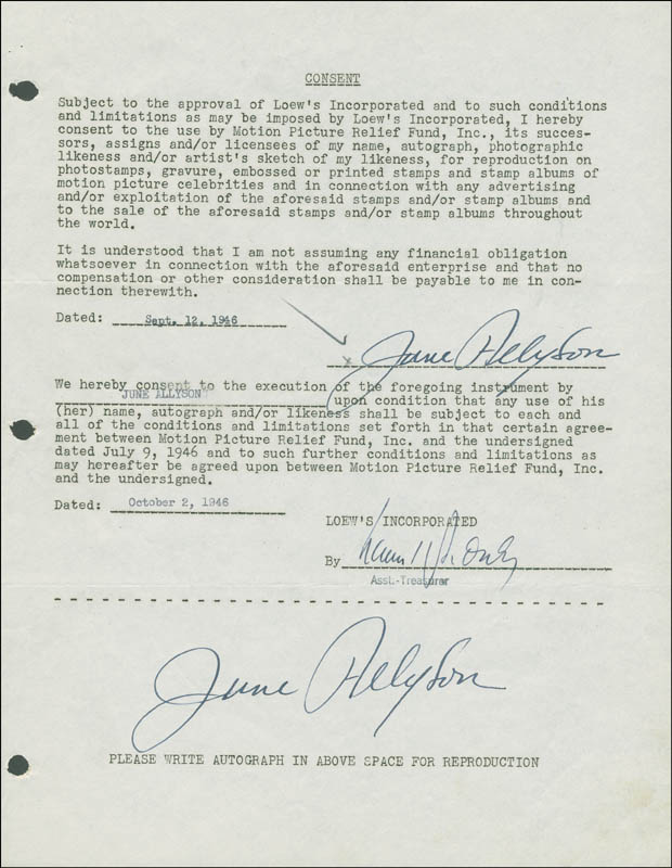 Image 1 for June Allyson - Document Double Signed 09/12/1946 - HFSID 288871