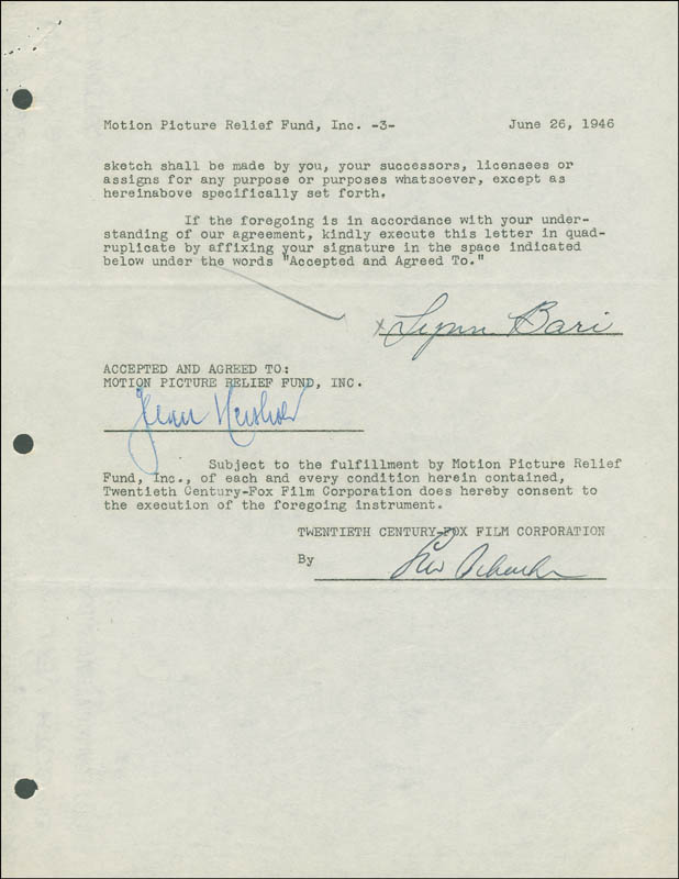 Image 1 for Lynn Bari - Document Signed 06/26/1946 - HFSID 288876
