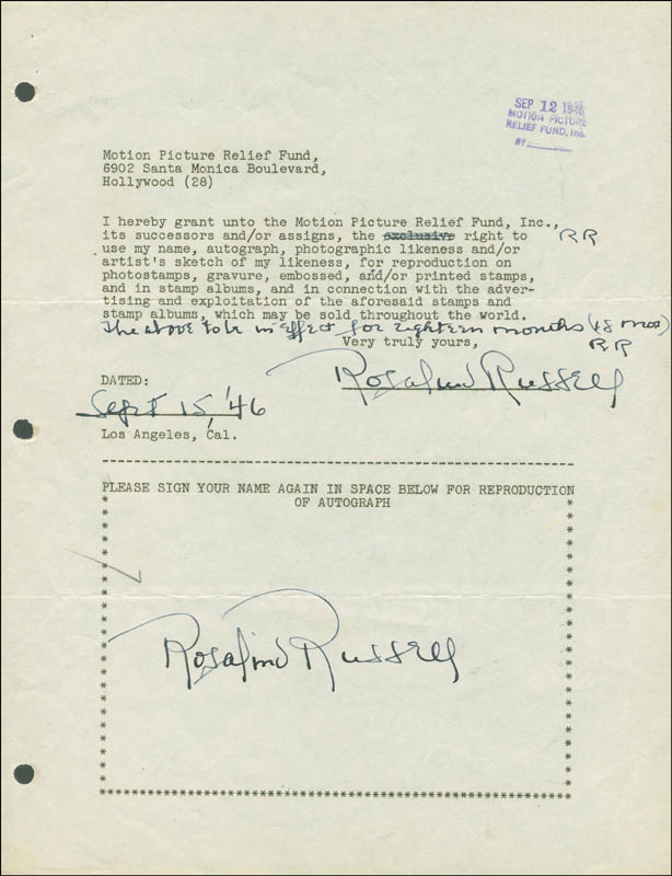 Image 1 for Rosalind Russell - Document Double Signed 09/15/1946 - HFSID 288885